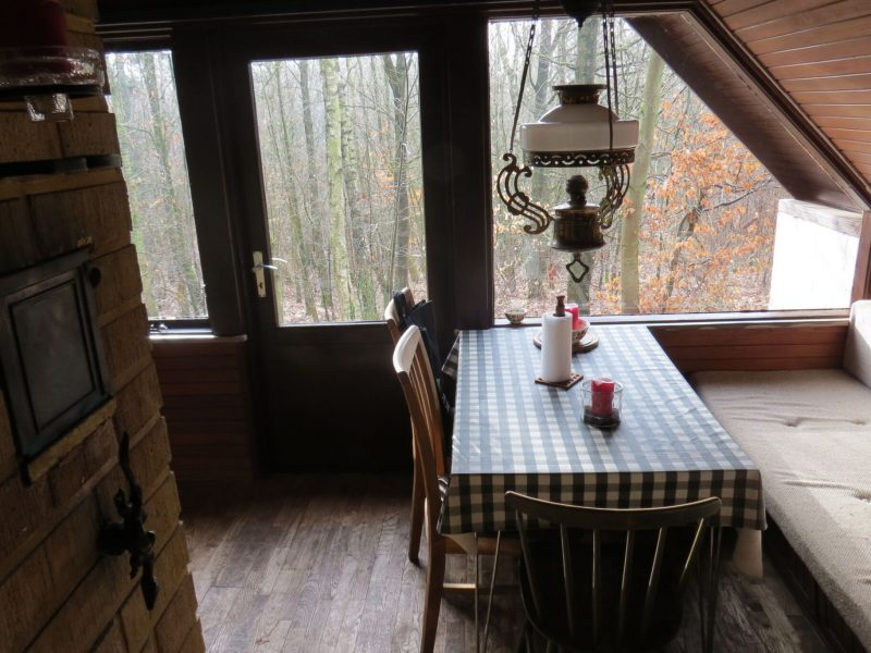 I Hytten nydes god samvær eller en stille stund med udsigt ind i skoven